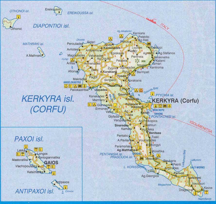 Insula Corfu Cazare Corfu Si Harta Corfu