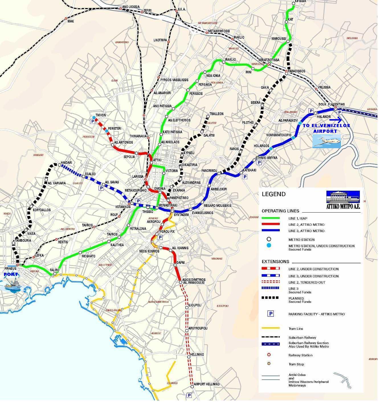 Harta Metrou Atena Harta