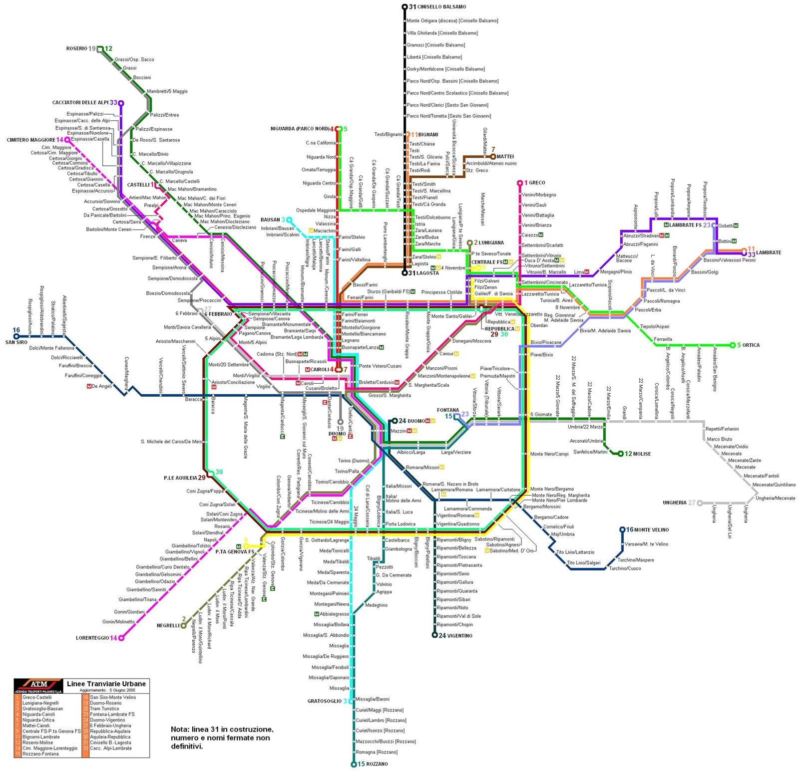 Harta Milano Harta Metrou Milano